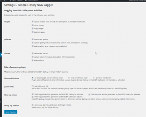Simple History NGG Loggers setting page